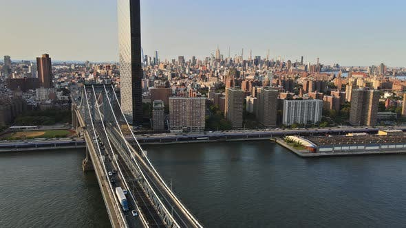 Manhattan Bridge at Landscape Looking to Beautiful View of New York City