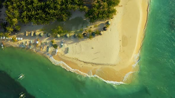 Cover Image for Aerial View of Paradise White Sand Beach and Azure Sea on Tropical Daku Island in Siargao