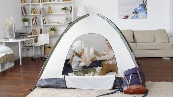 Thumbnail for Kids Playing in Tent Indoors