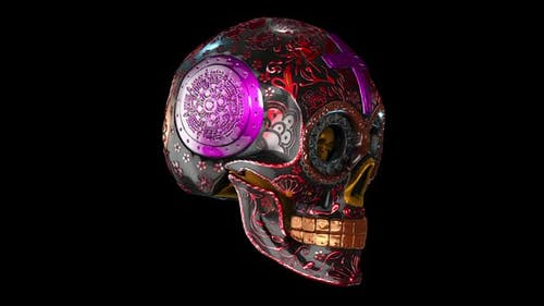 Carved metal skull spining with alpha