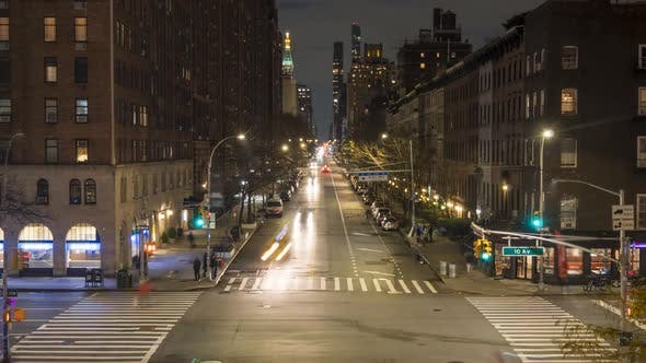 Thumbnail for Cars Traffic on Street in Manhattan at Night. New York City