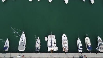Drone Image of Yachts Moored at the Pier