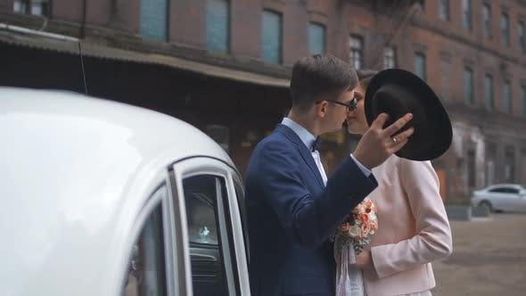Thumbnail for Wedding Couple in Love Over the Wedding Car