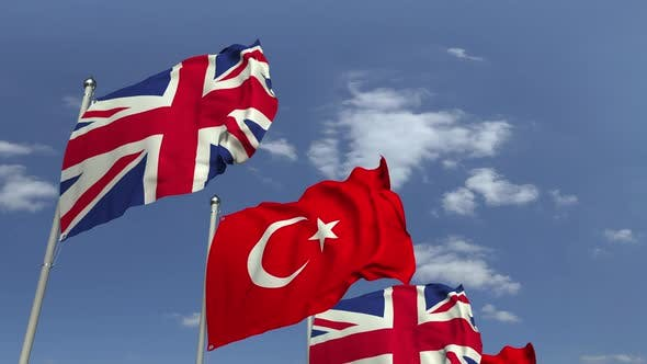 Waving Flags of Turkey and the United Kingdom