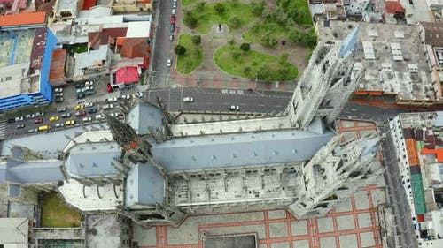 Aerial view, top down, of the Basílica del Voto Nacional,