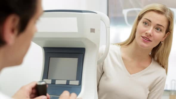 Woman on Appointment with Ophthalmologist