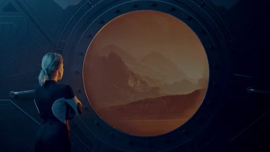 Thumbnail for Female Astronaut Looking Out Mars Base Window