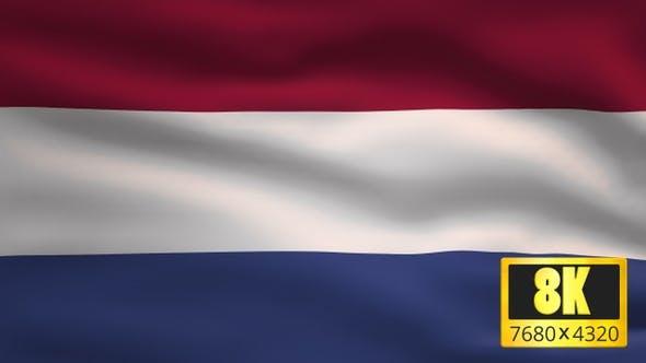 8K Netherlands Windy Flag Background