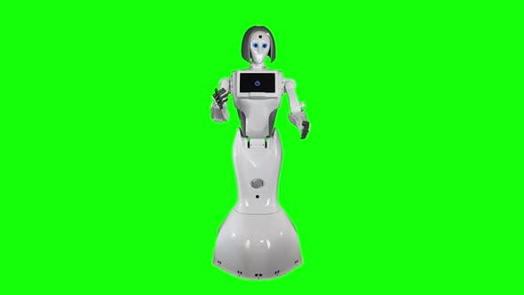 Thumbnail for Robot Gestures Answers To Questions. Green Screen