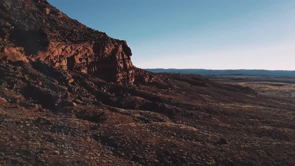 Drone Flying Next To Massive Cliffs and Rocks in Arizona, Incredible Endless Vast Open Spaces