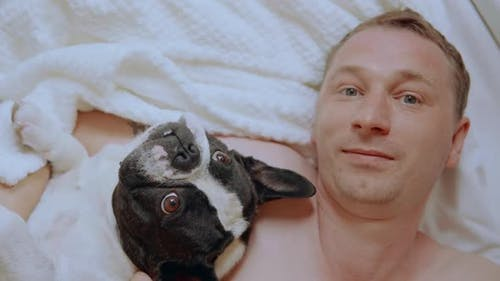 Top View Caucasian Adult Man with Pet in Flat