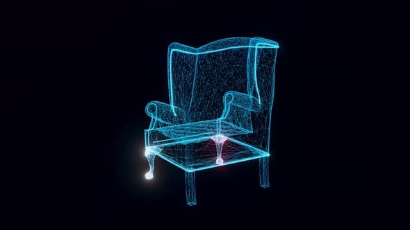Armchair Hologram Rotating 4k