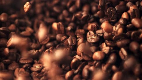 Super Slow Motion Coffee Beans are Mixed