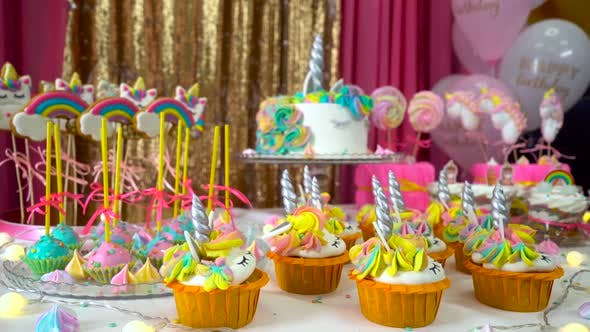 Thumbnail for Decorated Children's Birthday Party with Tasty Cupcakes, Colourful Lollipops and Unicorn Cake