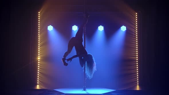 Thumbnail for A Slender, Long Legged Blonde Dances on a Pole, Stretches in a Twine and Rotates. Silhouette Against