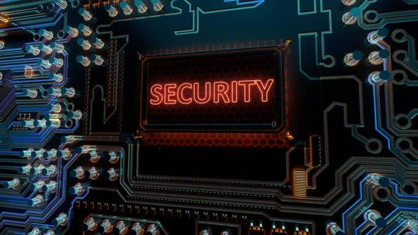 Safety Secure Protection Cyber and Security Words on Digital Futuristic Circuit Board