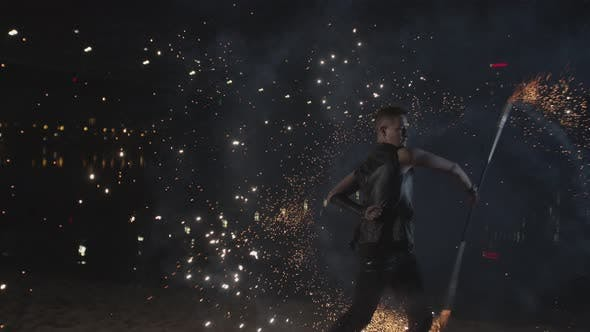 Fantastic Fireworks During Fireshow Performance