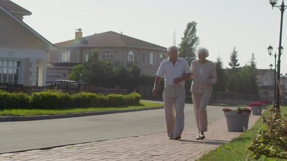 Thumbnail for Happy Senior Couple Walking Outdoors on Sunny Day