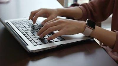 Type on laptop computer
