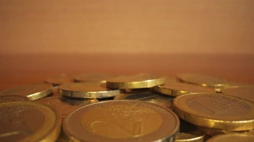 Heap of Euro Coins on the Table