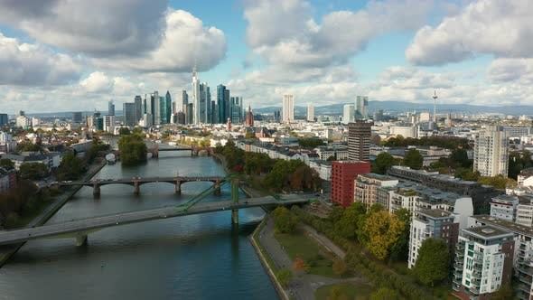 Thumbnail for Aerial of the Skyline of Frankfurt