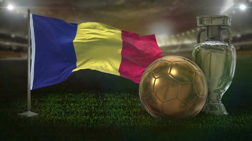 Romania Flag With Football And Cup Background Loop