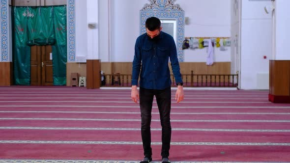 Young Man Worshiped Mosque