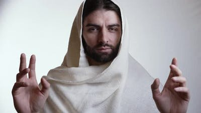 Jesus Raises His Hands and Blessing