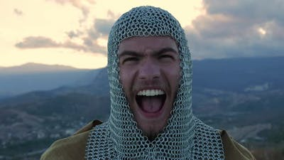 close-up norman warrior screams battle cry