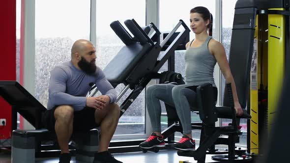 Thumbnail for Couple of Active Young People Talking During Workout in Gym, Healthy Lifestyle