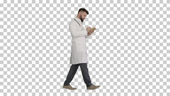 Thumbnail for Doctor or medic man holding pen and notebook, Alpha Channel