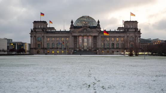 Hyper Lapse of Berlin Reichstag government building in winter