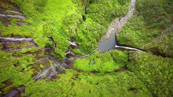 Thumbnail for Aerial view of voile de la Mariee waterfall, Reunion island.