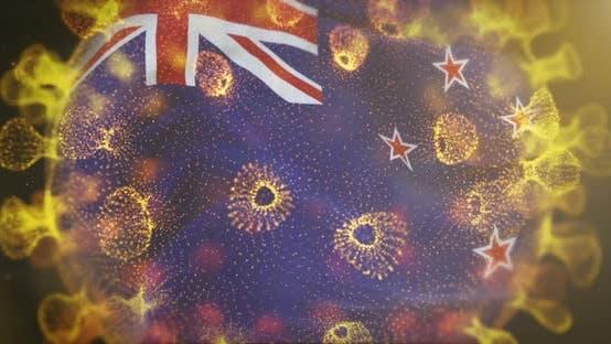 New Zealand Flag With Coronavirus Microbe Centered