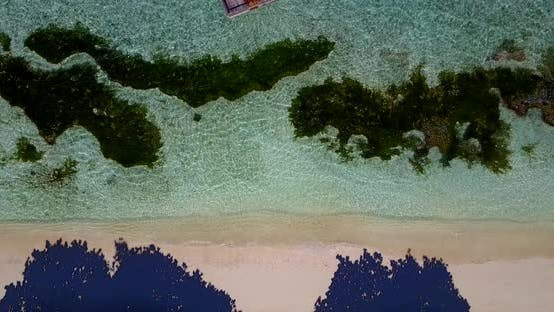 Thumbnail for Daytime drone abstract shot of a white paradise beach and aqua blue ocean background