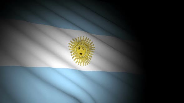 Argentina Flag Blowing in Wind