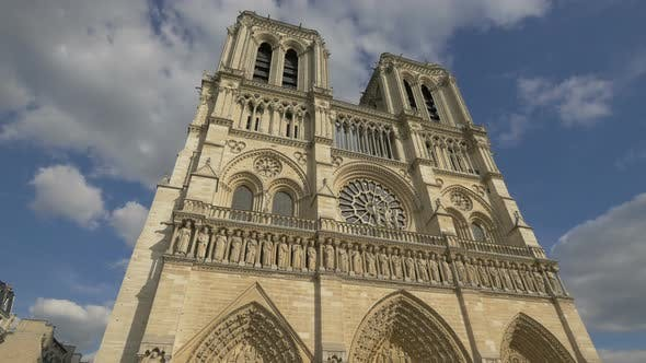 Low angle of NotreDame Cathedral in Paris