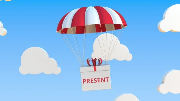 Box with PRESENT Text Falls with a Parachute
