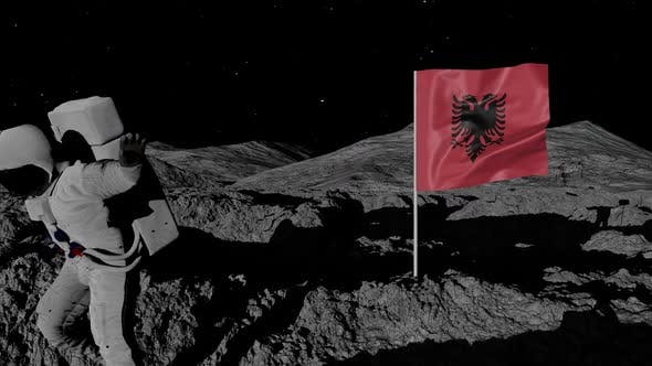 Astronaut Planting Albania Flag on the Moon