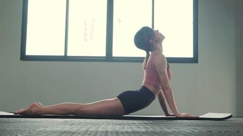 Asian young woman practicing the Bhujangasana yoga pose or cobra pose of upward facing dog in gym.
