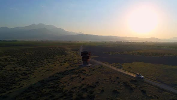 Thumbnail for Aerial View Car Driving At Sunrise