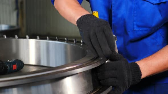 Thumbnail for Industry and Machinery Concept. Hand Manufacture of Bearings at Factory. Bearing Production and