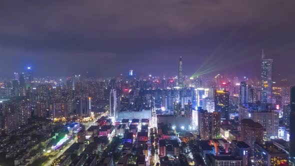Thumbnail for Shenzhen City at Night. Aerial View