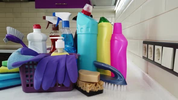 Thumbnail for Different Products and Items for Cleaning on the Floor in the Kitchen.