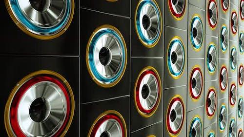 hi-fi stereo speakers dance beat music Red blue loop  backgound 4k