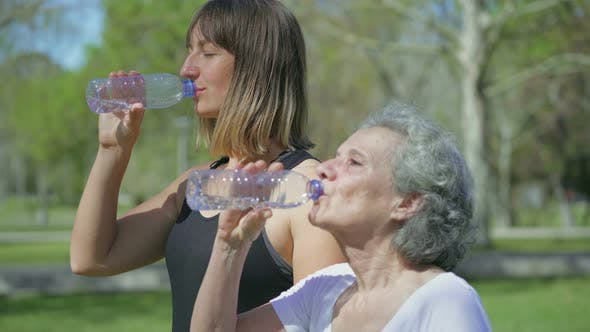 Thumbnail for Young and Middle-aged Women in Park Drinking Water After Jogging