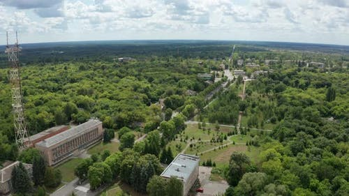 Drone Flight Over Buildings of Chernobyl City