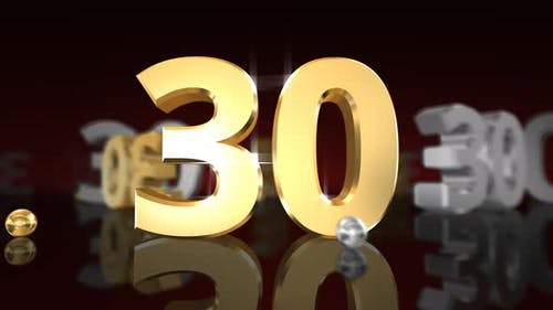 Countdown Gold Glittering Numbers 1 Minute 4K