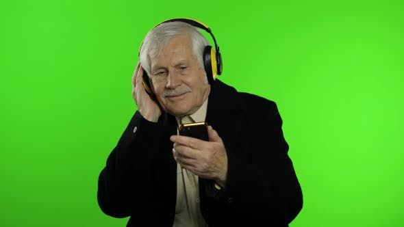 Thumbnail for Elderly Caucasian Grandfather Man Dance, Celebrate, Listen Music. Chroma Key