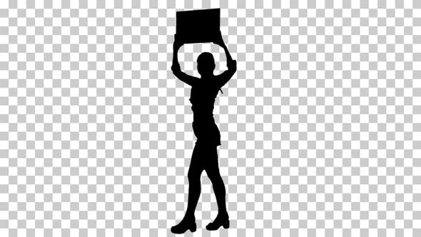 Silhouette Girl with an empty board announcing new round